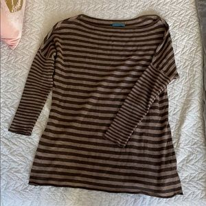 Alice and Olivia Brown Stripe Oversized Sweater